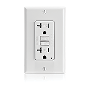 Leviton GFTR2 20 Amp, 125 Volt Receptacle/Outlet, 20 Amp Feed-Through, Tamper-Resistant, Self-test SmartlockPro Slim GFCI