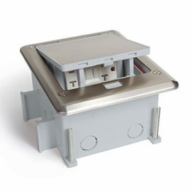 Lew Electric OB-1-SP-6PORT Outdoor Floor Box for Comm./Data w/Stainless Cover: Push Button Open; Fully IP66 Rated Water Proof (When In Closed Position). Includes Wrench for Inside Wire Connections.