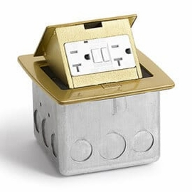 Lew Electric PUFP-CT-B Brass, Pop Out Counter Top Plate Assembly,w/20Amp (TR) GFI Receptacle