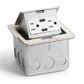 Lew Electric PUFP-CT-OW-2USB Off-White, Pop Out Counter Top Plate Assembly,w/15Amp (TR) Duplex Power/2-USB Receptacle