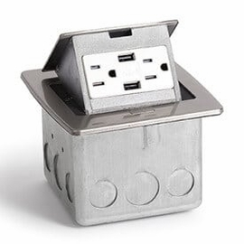 Lew Electric PUFP-CT-SS-2USB Stainless Steel, Pop Out Counter Top Plate Assembly,w/15Amp (TR) Duplex Power/2-USB Receptacle