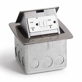 Lew Electric PUFP-CT-SS Stainless Steel, Pop Out Counter Top Plate Assembly,w/20Amp (TR) GFI Receptacle