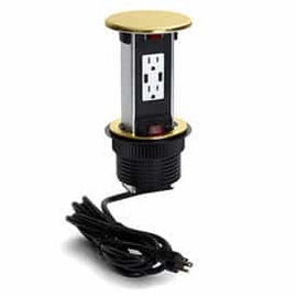 Lew Electric PUR15-B Brass, Pop Up Counter Top Plate w/one 15Amp (TR) Duplex Power/2USB Receptacle