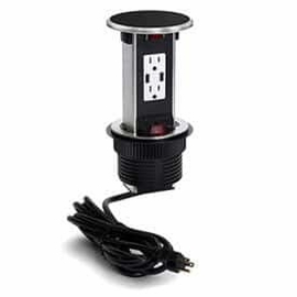 Lew Electric PUR15-BK Black, Pop Up Counter Top Plate w/one 15Amp (TR) Duplex Power/2USB Receptacle