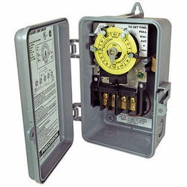 Precision CD104  24 Hr. Dial Time Switch - NEMA 3R Raintight Plastic Case - Gray Finish - DPST - 40 Amps - 208-277 Volt
