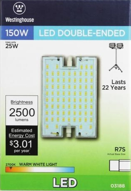 Westinghouse 25R7S/LED/CL/27 25 Watt  Double-Ended LED Light Bulb  2700K,WW,RSC Base, 120 Volt