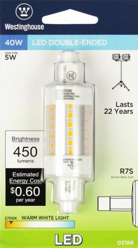 Westinghouse 5R7S/LED/CL/27 5 Watt Double-Ended LED Light Bulb 2700K,WW, RSC Base, 120 Volt