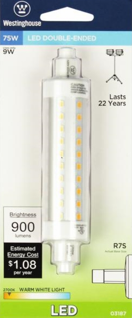 Westinghouse 9R7S/LED/CL/27  9 Watt Double-Ended LED Light Bulb  2700K,WW,RSC Base, 120 Volt