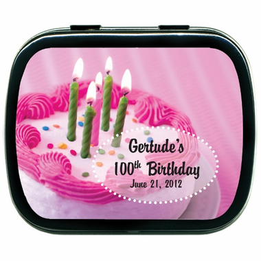 100th Birthday Favors Mint Tins