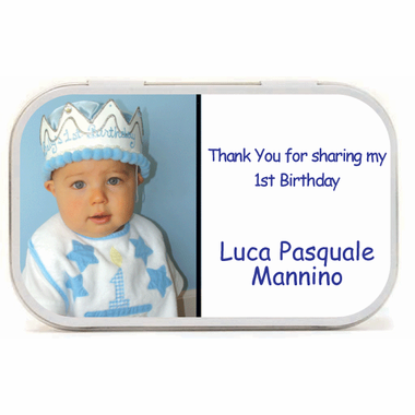 1st Birthday Favors Photo Mint Tins