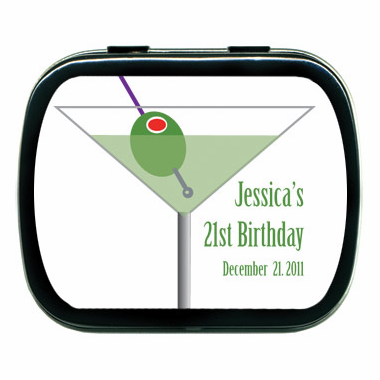 21st Birthday Favors - Candy Martini Theme Party Tin