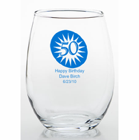 50 Birthday Party Favors Stemless Wine Glass