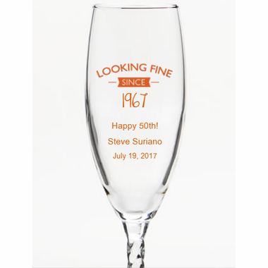 50th Birthday Party Favors Champagne Glass