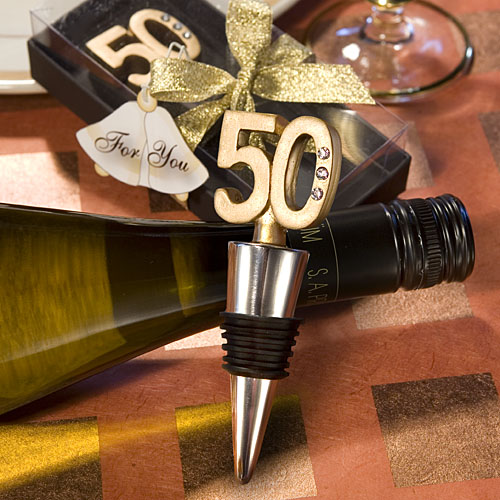 50th Birthday Wine Bottle Stopper Favors