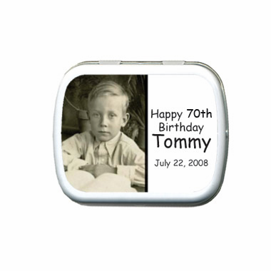 70th Birthday Party Favors Photo Mint Tins