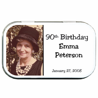 90th Birthday Party Favors Photo Tin