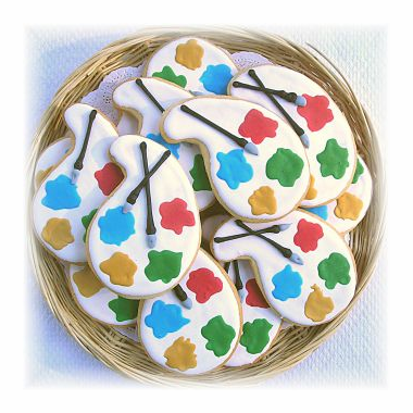 Artist  Palette Cookies - Paint Colors