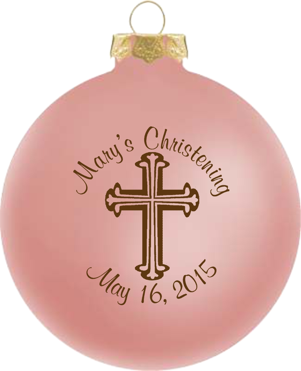 Baptism Ornament Cross Ornament Girl Baptism Ornament Girl: Baby Girl Christening Favors Glass Ornament
