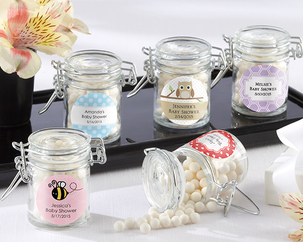 baby shower favor jars with personalized labels, Baby shower invitation
