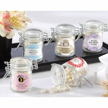 Baby Shower Favor Jars with Personalized Labels