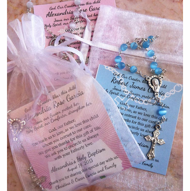 Baptism Favors Rosaries in Mini Organza Bag and Card
