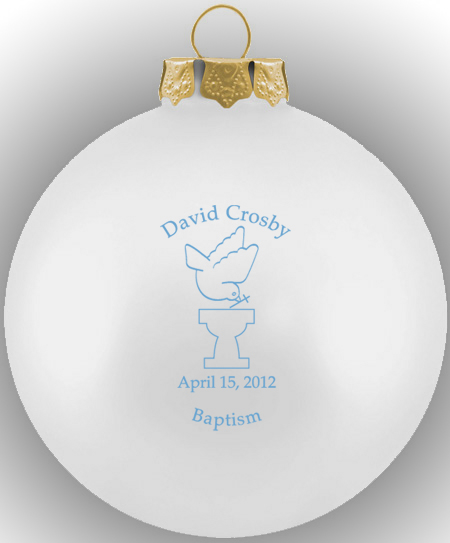 Baptism Ornament Personalized Christmas Ornament Christening: Baptism Ornament Round Glass