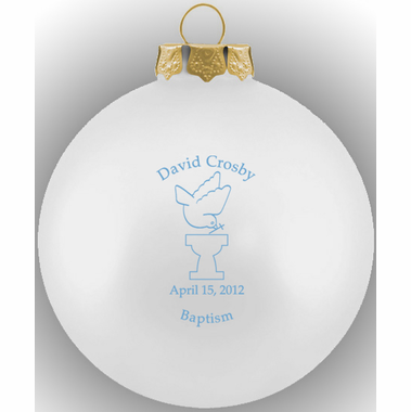 Baptism Ornament Round Glass