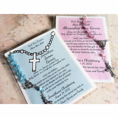 Baptism Remembrance Cards with Rosary Sample