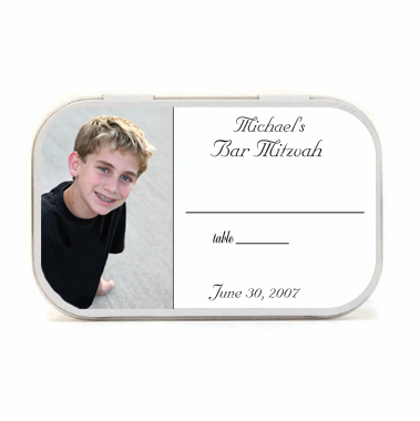 Bar Mitzvah Party Favors Photo Mint Tin Place Cards