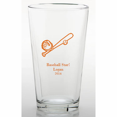 Baseball Party Personalized Theme Glasses