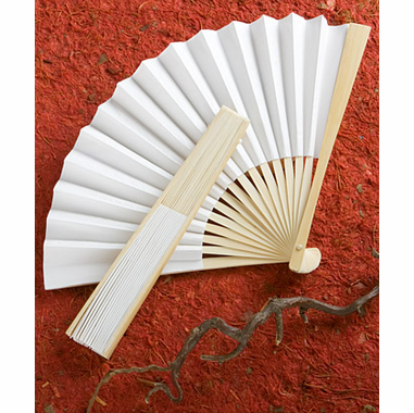 Cheap White Fans Hand Wedding Favors