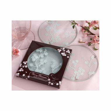 Cherry Blossoms Favors Glass Coasters