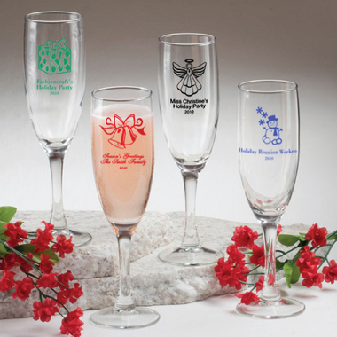 Christmas Champagne Glasses - Personalized