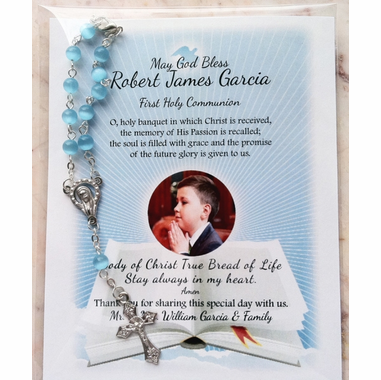 Communion Photo Rosary Remembrance Card Sample