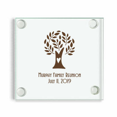 Family Reunion Glass Coasters - Tree Heart Design Shown