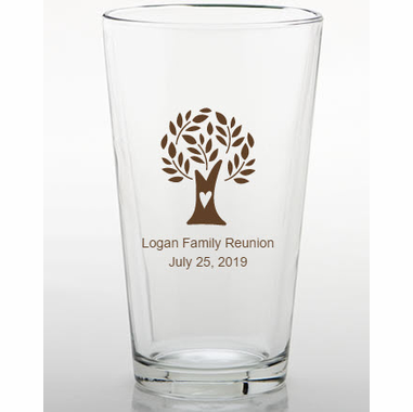 Personalized Pint Glasses - Tree Heart Design Shown