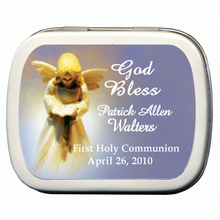 First Communion Favors Angel Mint Tins Blue