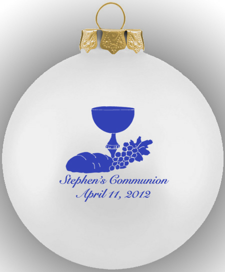 Ornament Christening Favors: First Communion Ornament Glass