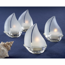 Frosted Glass Sailboat Tealight Holders