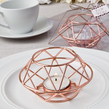 Geometric Copper Tea Light Holders