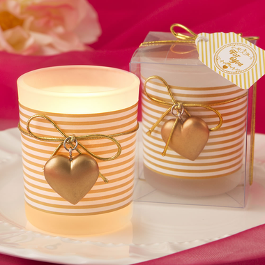 Gold and White Striped Votive with Heart