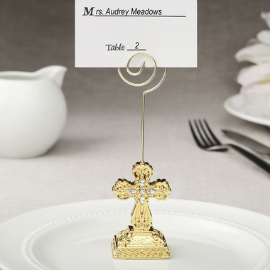 Gold Cross Place Card Holders