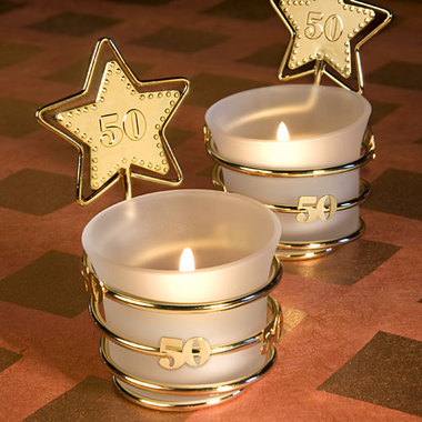 Golden Anniversary Party Favor Candle