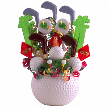 Golf Themed Centerpieces - Ball with Lollipops
