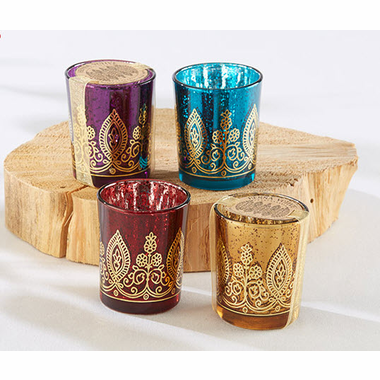 Henna Glass Candles - Set of 4