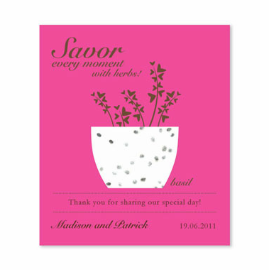 Hot Pink Favors Herb Seed Card