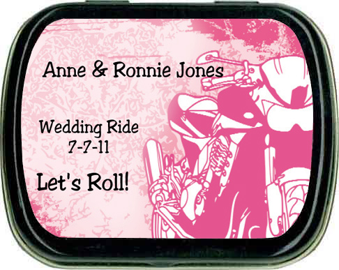 motorcycle theme party wedding favors mint tins