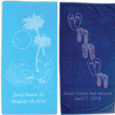 Personalized Beach Towels, Sweet 16 Favors