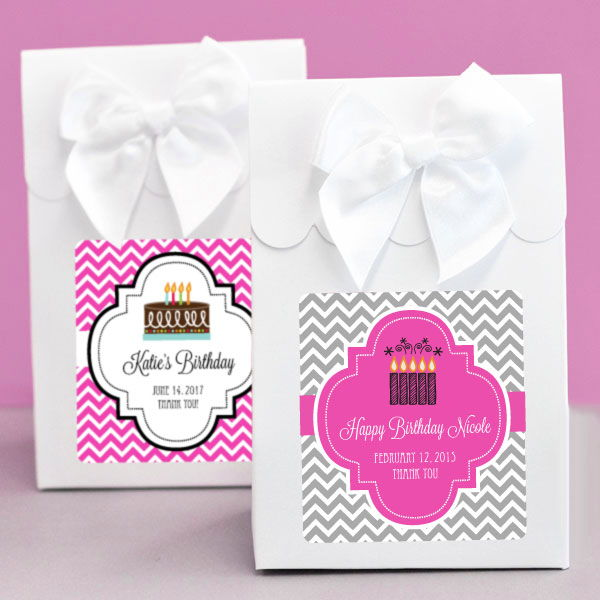 Personalized Birthday Favor Boxes Set Of 12