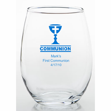Personalized Communion Favors Stemless Glass/Trinket Holder - 9 oz.